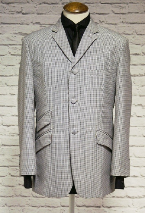 """Rudie"" Black & White Dogtooth Classic Check Suit"